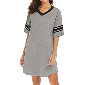 Women's  Cotton Novelty Sleepshirts V Neck Short Sleeve Sleep Shirt Loose Comfy