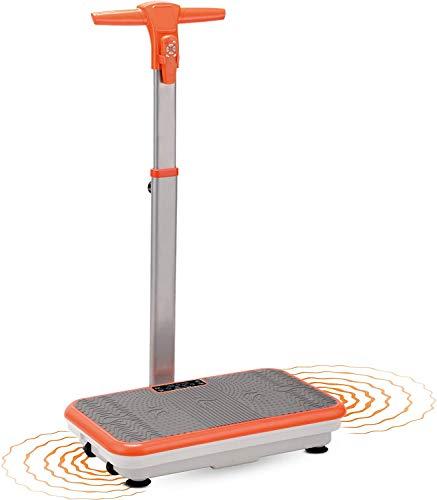 Mediashop VibroShaper – Fitness Vibrationsplatte unterstützt bei Muskelaufbau und Fettverbrennung – Vibrationstrainer für alle Muskelgruppen – inklusive Fitnessbänder – orange mit Griff