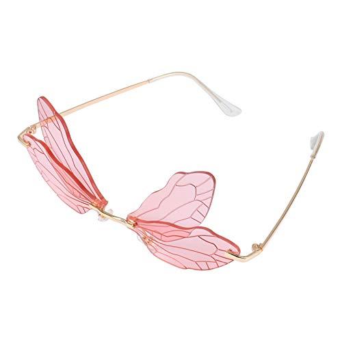 ABOOFAN Gafas de Sol de ala de Libélula Rosa sin Montura Gafas de Sol de Moda Gafas Irregulares Gafas de Personalidad para Mujer Chica Al Aire Libre