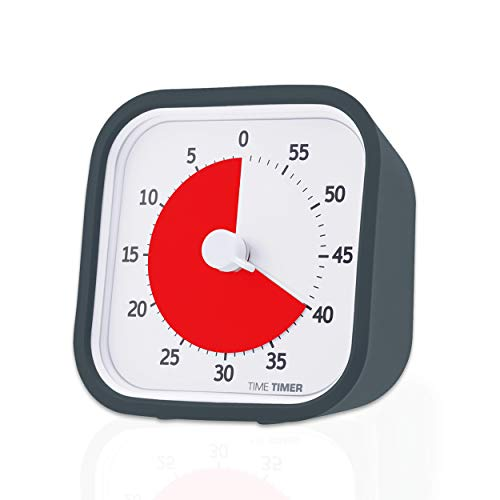 Time Timer MOD (Charcoal), A Visual Countdown 60 Minute Timer for Classrooms, Meetings, Kids and Adults Office and Homeschooling Tool with Silent Operation and Interchangeable Silicone Cover