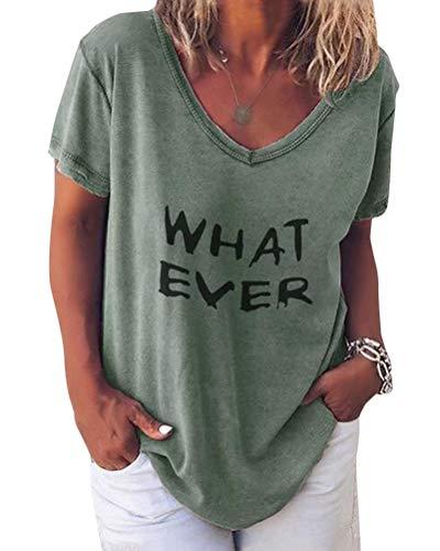Minetom Damen Sommer Kurzarm Blusen T-Shirt V-Ausschnitte Loose Oversize Shirt Einfarbig Casual Brief Bedruckt Asymmetrisch Oberteile Top C Grün DE 40