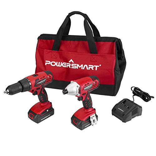 """PowerSmart Combo Kit, 20V MAX Cordless Drill/Driver Combo Kit, Cordless 1/4"""" Impact Driver, 45N.m Chuck 1/2-INCH Cordless Drill Driver, 2-Tool Combo Kit, 2 Batteries and Charger Included, PS76300C"""