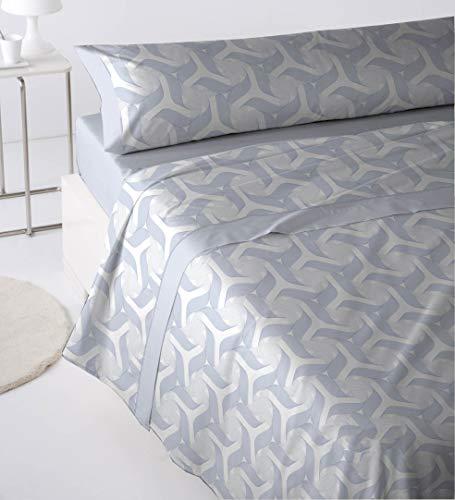 Cabetex Home - Juego de sábanas Estampadas - 3 Piezas - polialgodón - Mod. CELIN (Azul, 150_x_190/200 cm)