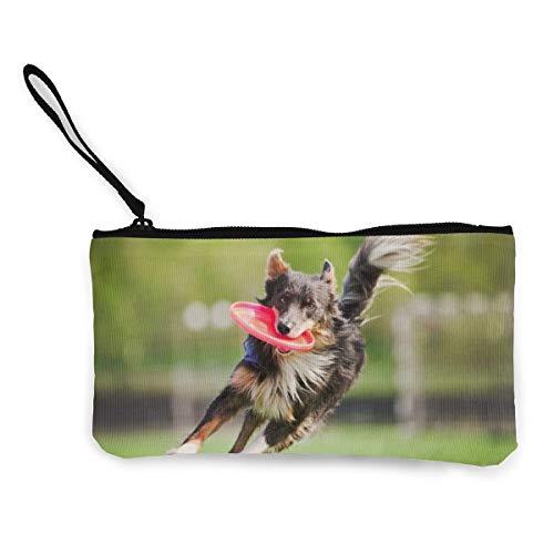 Wrution Shepherd Dog Bites Red Frisbee Running Canvas Coin Purse Bag Zipper Small Wallets Female...