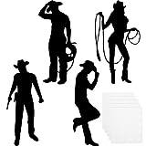 16 Pieces Cowboy Silhouettes Cowboy Cutouts...