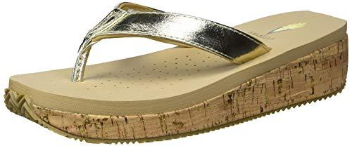 Volatile Women's Thong Wedge Sandal, Gold, 6