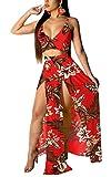 VKVKA Womens Sexy V Neck 2 Piece Outfits Chiffon Floral Maxi Dress Sling Crop Tops High Split Skirt Sets