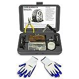 60 pcs kit de réparation de pneus professionnel I Kit de dépannage pour voitures, camions, motos, QUAD, VTT, tracteurs, voitures I y compris instructions en 5 langues