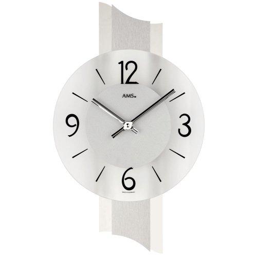 AMS 9394 - Reloj de pared (cuarzo, aluminio pulido, cristal mineral)
