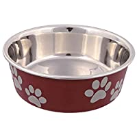 Attractive paw print design Anti slip bowl Rubber base ring 2.0 litre capacity With plastic coating