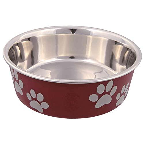 Trixie - Ciotola in acciaio con rivestimento in plastica per cani, Colori Assortiti, 2.0 l, ø23 cm, 1 pezzo