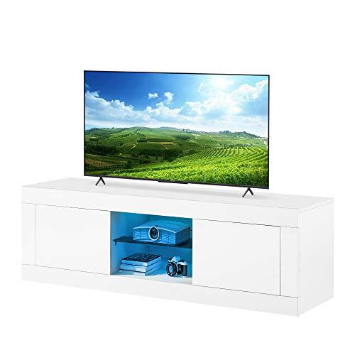 LED TV-stativ högglans 125 cm TV-stativ lämpliga för TV-apparater upp till 55 tums skåp enheter TV underhållning enhet bänk trä för vardagsrum och sovrum förvaring möbler (vit)