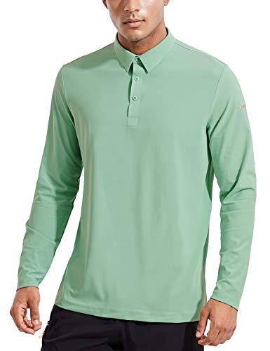 BALEAF Men's Golf Polo Shirt Workout Tennis Quick Dry Long Sleeve Shirt UPF...