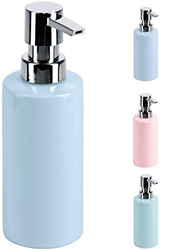 SANWOOD Seifenspender Feline aus Porzellan - rund - Pumpe verchromt 250 ml, Farbe:Hellblau
