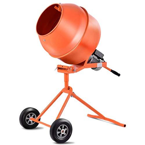 Goplus 1/2HP Electric Concrete Cement Mixer Portable Barrow Machine Mixing Mortar (5 Cu.Ft.)