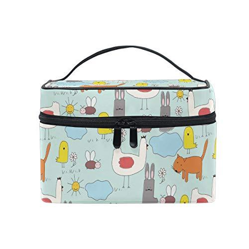 Ahomy Tragbare Kosmetiktasche mit Tragegriff, Motiv: Katze, Huhn, Vogel, Biene, Sonnenblumen, große Make-up-Tasche