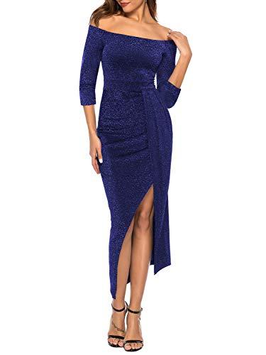 ZJCTUO Damen Kleid Abendkleid Schulterfreies Cocktailkleid Jerseykleid Skaterkleid Hochzeit Elegant...