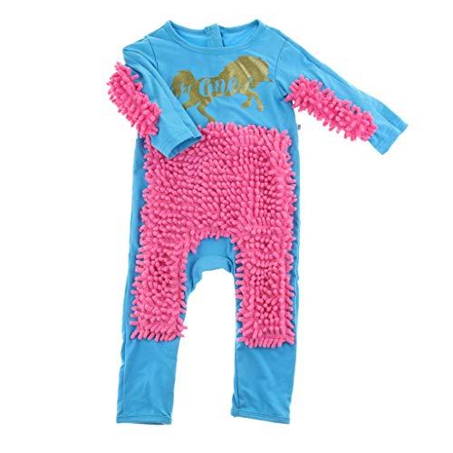 Traje de fregona para bebés Unisex Boy Girl Pulidos Pisos Limpieza Mopa Traje Otoño Invierno Niños Gateando Niño Swob Mono - Azul+Rojo 80cm, como se describe azul+Rojo 80cm como se describe