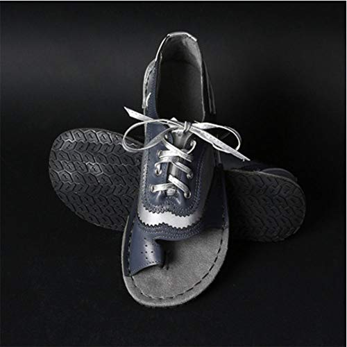 Sommer Frauen Fußkorrektur Sandalen Schuhe mit Plateau Flat Heel Round Toe Sandalen Frauen Peep Toe Casual Flip Flop Schuhe PU Leder Big Toe Hallux Valgus Unterstützung Sandale Schuhe,Blau,38