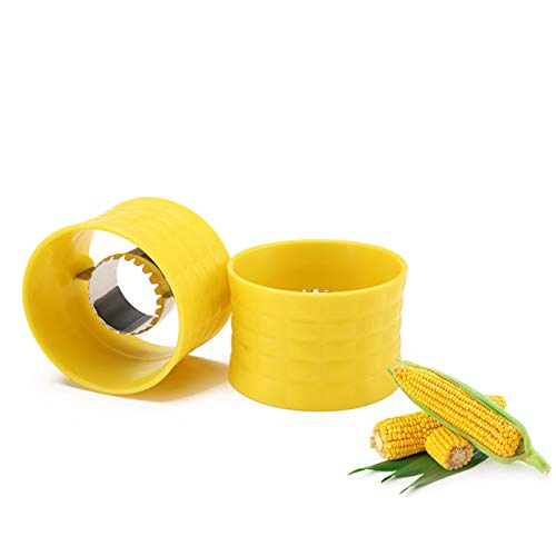 cnmd Cob Cutter Fruit Vegetable Tools, Corn on the Cob Stripper Cob Remover Corn Manual Stainless Steel Cob Corn Tripping Tool for Home & Kitchen(2pcs)(yellow)