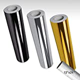 VViViD Deco65 Multi-Color Gloss Chrome Permanent Adhesive Craft Vinyl Bundle Including 12' x 24' Roll of Transfer Paper (3 Color Chrome Pack)