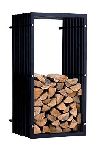 CLP Support Bois de Chauffage Irving, Porte-bûches Mural, Construction Stable, Rangement Bois Moderne Métal Noir Mat, 50 x 40 x 100 cm