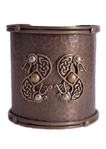 Battle-Merchant Brazalete ancho vikingo con diseño celta de serpiente – Interior con cuero – Vikingo medieval Celta