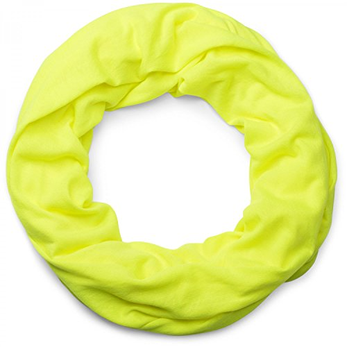 styleBREAKER unifarbener leichter Jersey Loop Schal, Schlauchschal, Tuch, Einfarbig, Unisex 01016115, Farbe:Neongelb