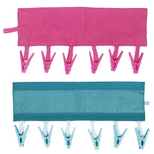 JSF - 2 Pinzas de Viaje y tendedero para Ropa de bebé, Ahorro de Espacio para Ropa de bebé con 6 Pinzas para Usar en el baño del Hotel y el hogar (Rosa Rojo y Azul)