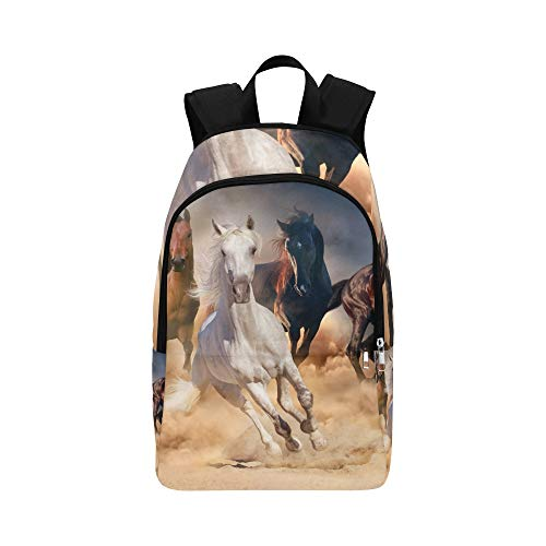 IIAKXNB Horse Herd in Desert Sand Storm Casual Daypack Travel Bag College School Backpack for Mens and Women