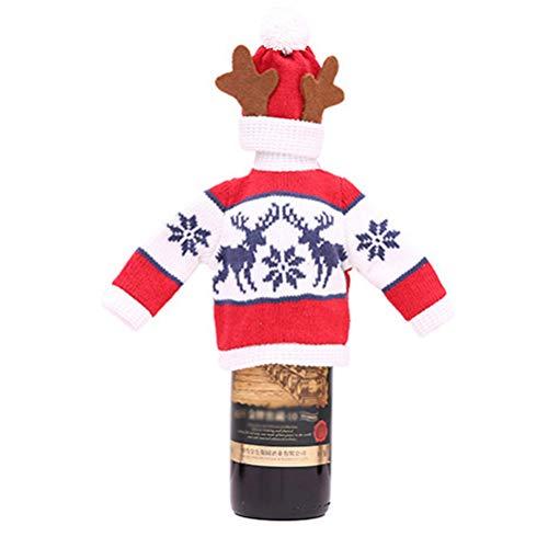 BESTOYARD Flaschentaschen Hut Set Rentier Muster Wein Flasche Pullover Weinflasche Abdeckung Weihnachten Tisch Deko (Rot)