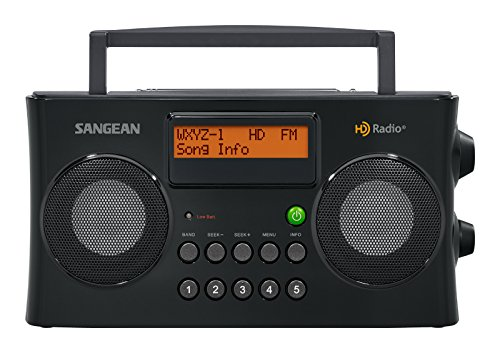 Sangean All in One Portable HD AM/FM Dual Alarm Clock Radio with Large Easy to Read Backlit LCD Display