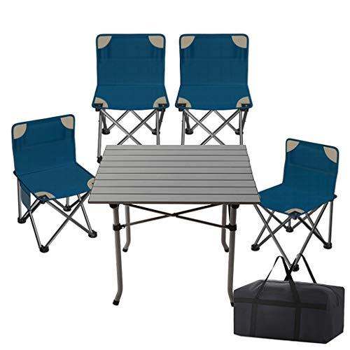 ROMX Juego de mesa de sillas de campamento, sillas de mesa de camping portátiles, mesa auxiliar plegable compacta en una bolsa con tapa de aluminio y bisagra de alta resistencia para facilitar el vi