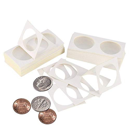 300 Pieces Cardboard Coin Holder Mega Assortment, 2 by 2 Inch Coin Coin Collection Supplies for Collectors (40mm)