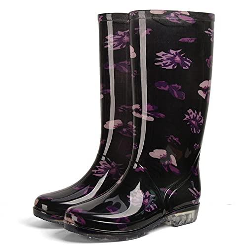 Dustpro Bottes De Pluie Mi-Mollet pour Femme Chaussures De Jardin Légères Imperméables Bottes Plate Forme Décontractée Chaussures Plates Chaudes ZC02 36