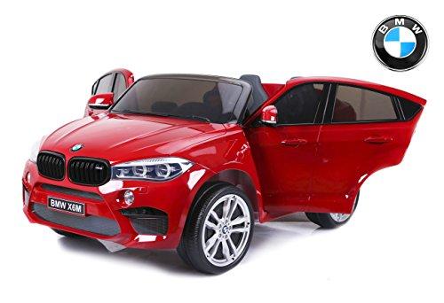 BMW X6 M Macchina Elettrica per Bambini, 2 x 120W, Rosso dipinto, due posti in pelle, con licenza originale, alimentato a batteria, sportelli apribili, freno elettrico, 2x motore, batteria 12V10Ah