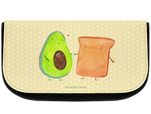 Mr. & Mrs. Panda Schlampermäppchen, Beutel, Kosmetiktasche Avocado + Toast - Farbe Gelb Pastell