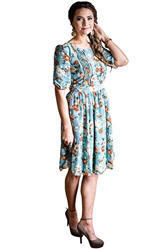 Mikarose Layla Modest Dress In Mint w/Floral Print