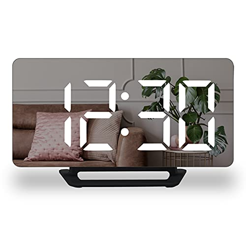 CareMont Reloj Despertador Digital, Pantalla LED Grande con Puertos de Carga USB Dobles, Reloj de Pared de Escritorio con Espejo Moderno para Dormitorio, Oficina, Casa