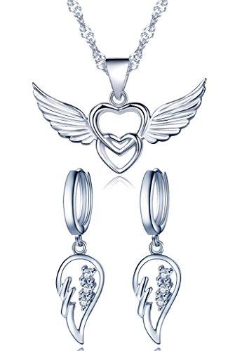 Yumilok 925 Sterling Silber Zirkonia Engelsflügel Doppel Herzen Ohrhänger Halskette Schmuck Set Ohrringe Kette mit Anhänger Set für Damen Mädchen