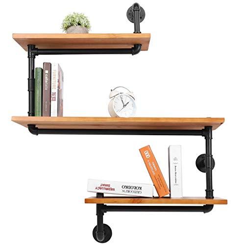 Estantería tubular industrial, estantería decorativa vintage, estantería flotante, estantería de pared de madera