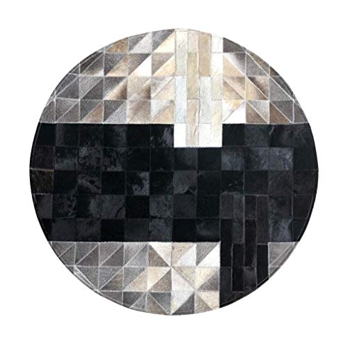 Woonkamertapijt, rundleer, Scandinavische stijl, handgenaaid van leer, rond, voor woonkamertapijt, sofa, salontafel en tapijt, interieurdecoratie, zwart, 150 cm, voetmat, regen Diameter 150cm