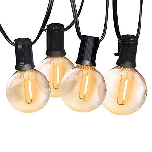 Svater LED Outdoor String Lights,50FT Patio Lights with 46pcs E12 Socket, 50pcs 2700K Warm White G40 Bulbs,Indoor/Outdoor Hanging Lights String for Cafe Garden Backyard