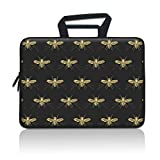 iLeadon 15-15.6 Inch Laptop Sleeve Case Protective Bag, Ultrabook Notebook Carrying Case Handbag for MacBook Pro 16'/15' 15.6' Dell HP ASUS Acer Samsung Sony Chromebook Computer, Gold Bees