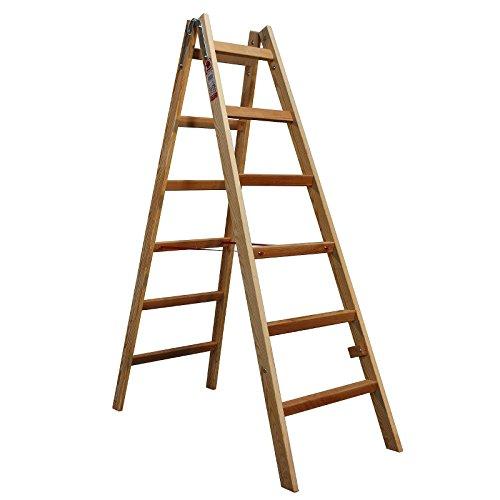 JUMBO® Bockleiter Massivholz Holzleiter 2x6 Stufen 48AW206