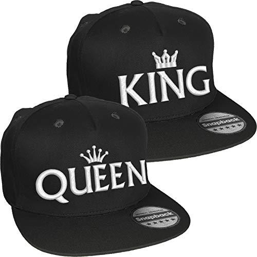 Nashville print factory Snapback Bestickt mit Motiv Krone   King & Queen   in weißer Schrift Stickerei Partner-Cap für Sie & Ihn (King & Queen)
