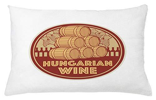 ABAKUHAUS Hongarije Sierkussensloop, Vintage Hongaarse Wijn Text, Decoratieve Vierkante Hoes voor Accent Kussen, 65 cm x 40 cm, Red Mustard en Beige