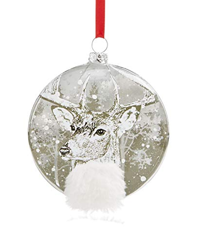 Holiday Lane 2018 Silver Disc with Reindeer & Snow Pattern Christmas Ornament