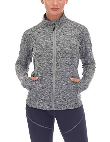 Dasawamedh Women's Running Sport Track Jacket Full Zip Workout Athletic Fitness Jackets for Training Black Heather M