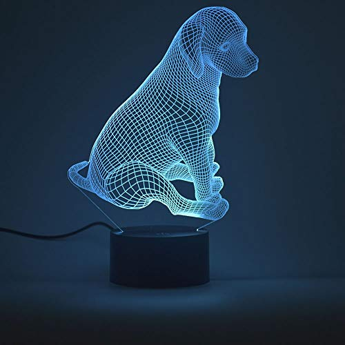 3D Optical Illusion Night Light,Touch LED Table Desk Lamp 7 Color Changing USB Charger Powered Touch Switch Desk Night Light for Kids Friends Gift(Puppy)